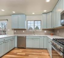 Gray Modern kitchen cabinets shaker doors