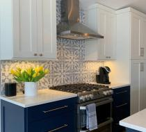 Navy blue and white modern kitchen cabinets shaker doors