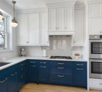 Navy blue and white Contemporary kitchen cabinets shaker doors