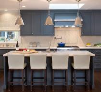 Gray Contemporary kitchen cabinets shaker doors