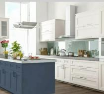 Gray and white modern kitchen cabinets shaker doors