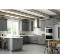 Gray Contemporary kitchen cabinets with shaker doors